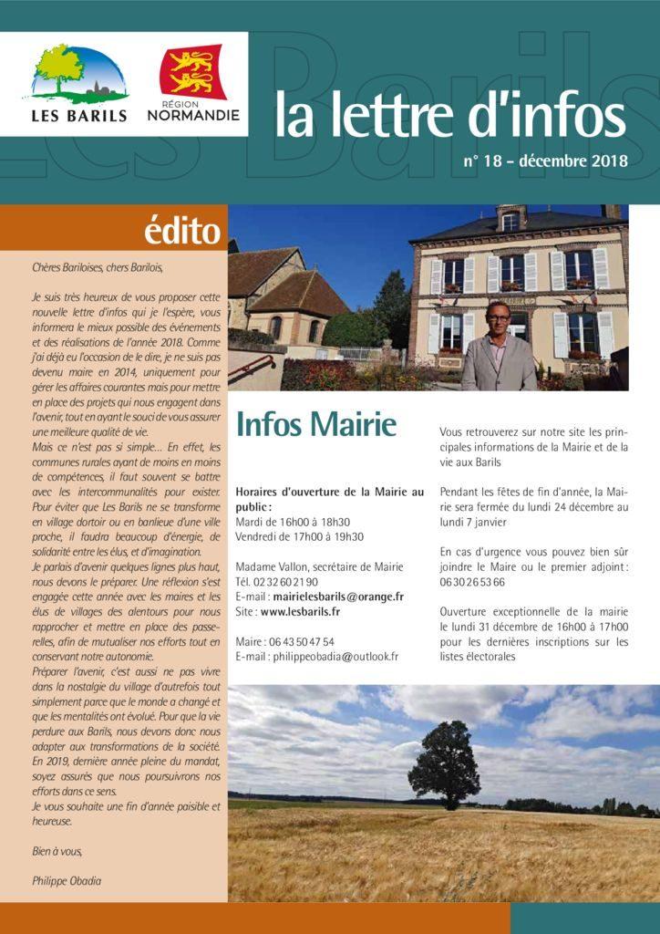 thumbnail of Lettre d'infos décembre 2018