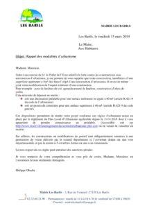thumbnail of courrier rappel règles d'urbanisme