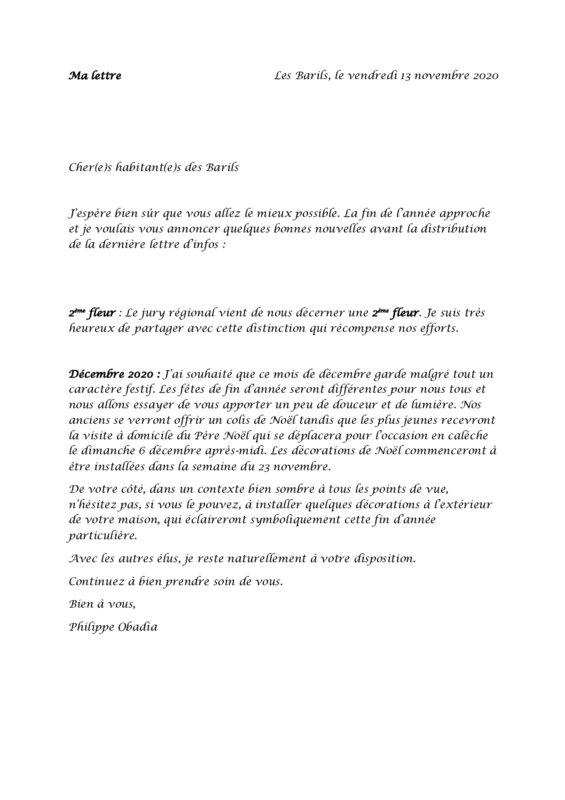 thumbnail of Ma lettre novembre 20