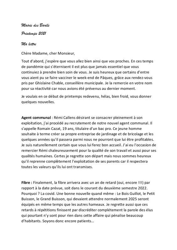 thumbnail of Ma lettre printemps 21